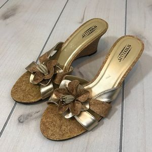 Seychelles Gold & Cork Wedge Slip On Sandals 8.5